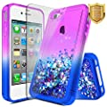 iPhone 4/4S Case with [Screen Protector HD Clear], NageBee Glitter Quicksand Liquid Floating Flowing Sparkle Shiny Bling Luxury Stylish Cute Case For Apple iPhone 4/iPhone 4S - Purple/Blue from NageBee