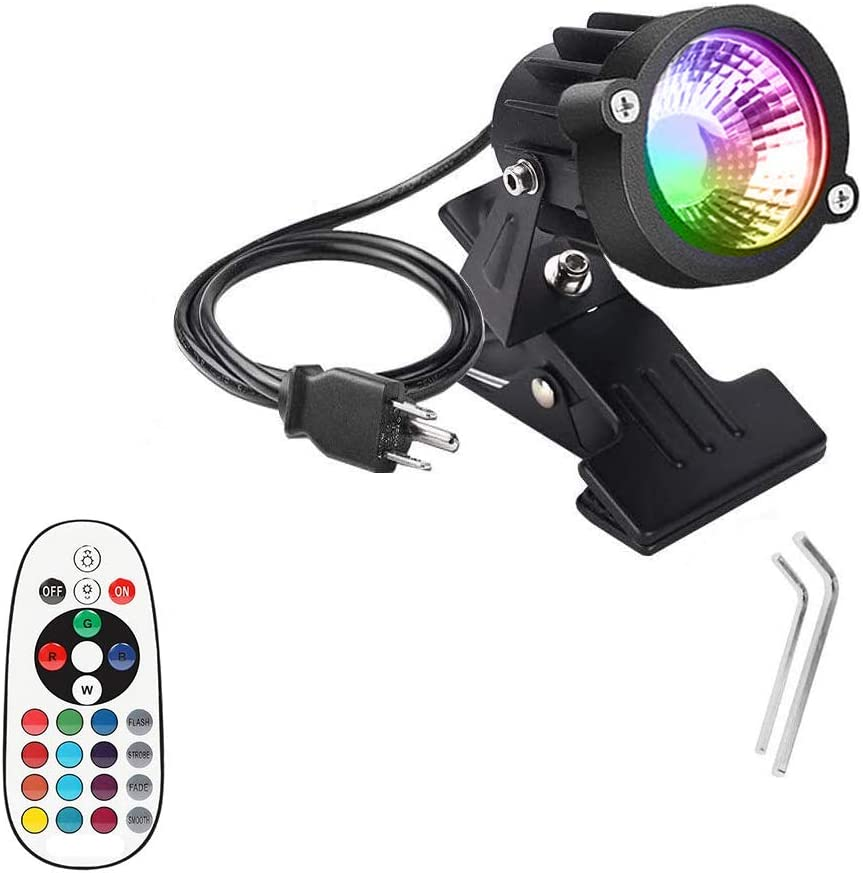 WeFoonLo 1pcs Outdoor 6W RGB LED Clip on Light Water Resistant Adjustable Desk Stand Spotlight Lamp Signboard Blackboard Lighting with Plug and Remote Control (Multi-Colored)