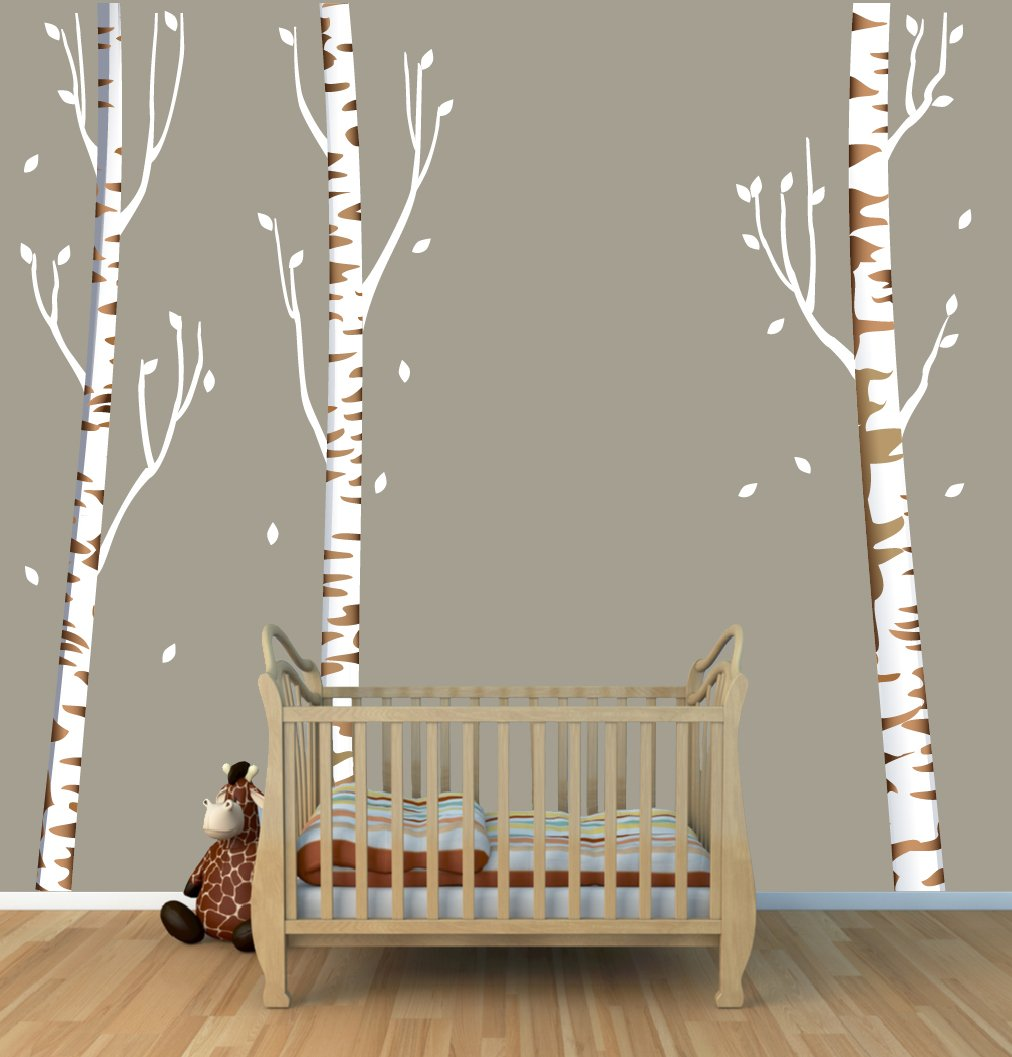 96'' Tall Brown Birch Tree Decal with 3 Trees