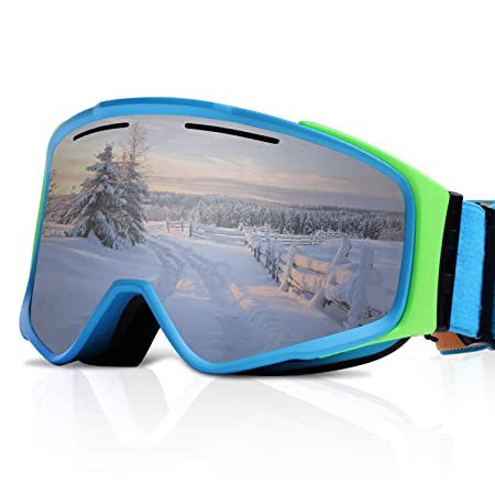 XR MAX 8 Ski Goggles for Men Women Anti-Fog Snow Goggles with Magnetic Replaceable Double UV Protection Lens, Air Ventilation Adjustable Headband for Skiing Snowboarding