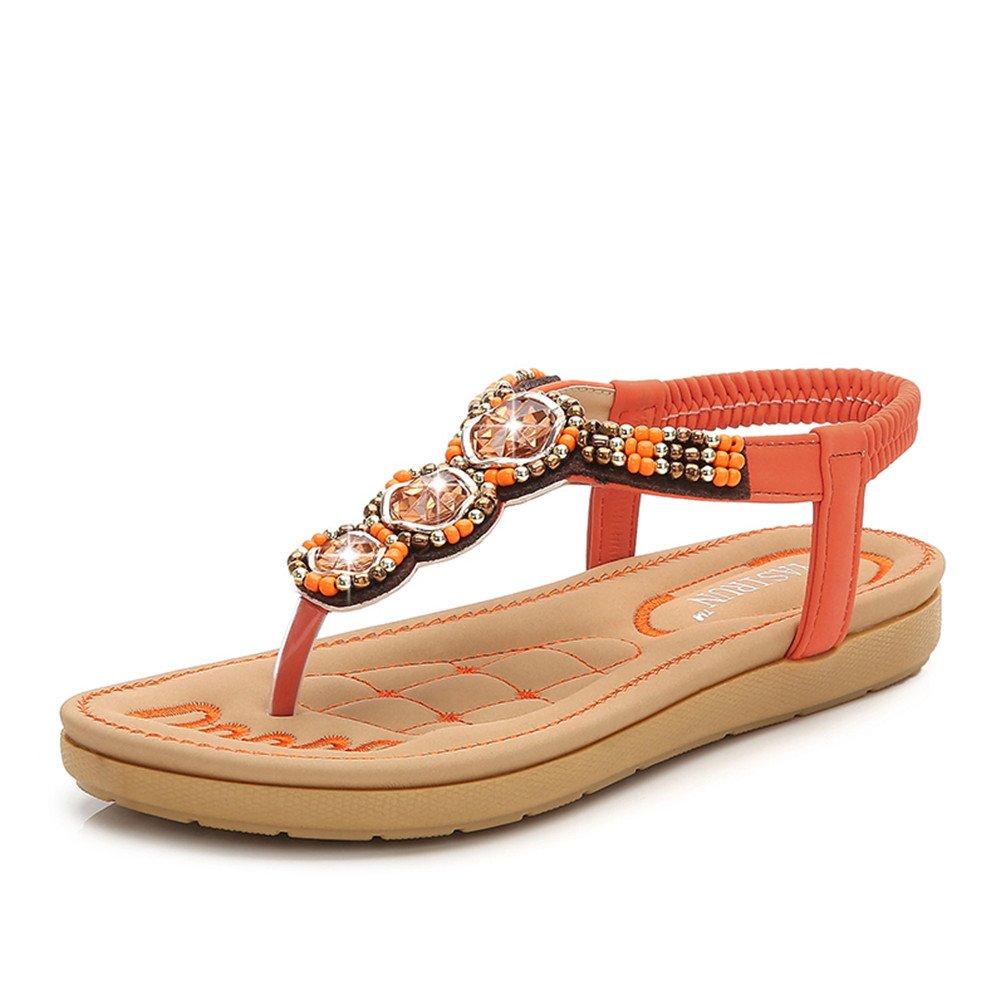Fashion Pier Damen Bohemia Sandalen Zehentrenner Strass Elegant Sandalen Sommerschuhe Elastischen Strand Schuhe Gr.35-41  35 EU|Orange