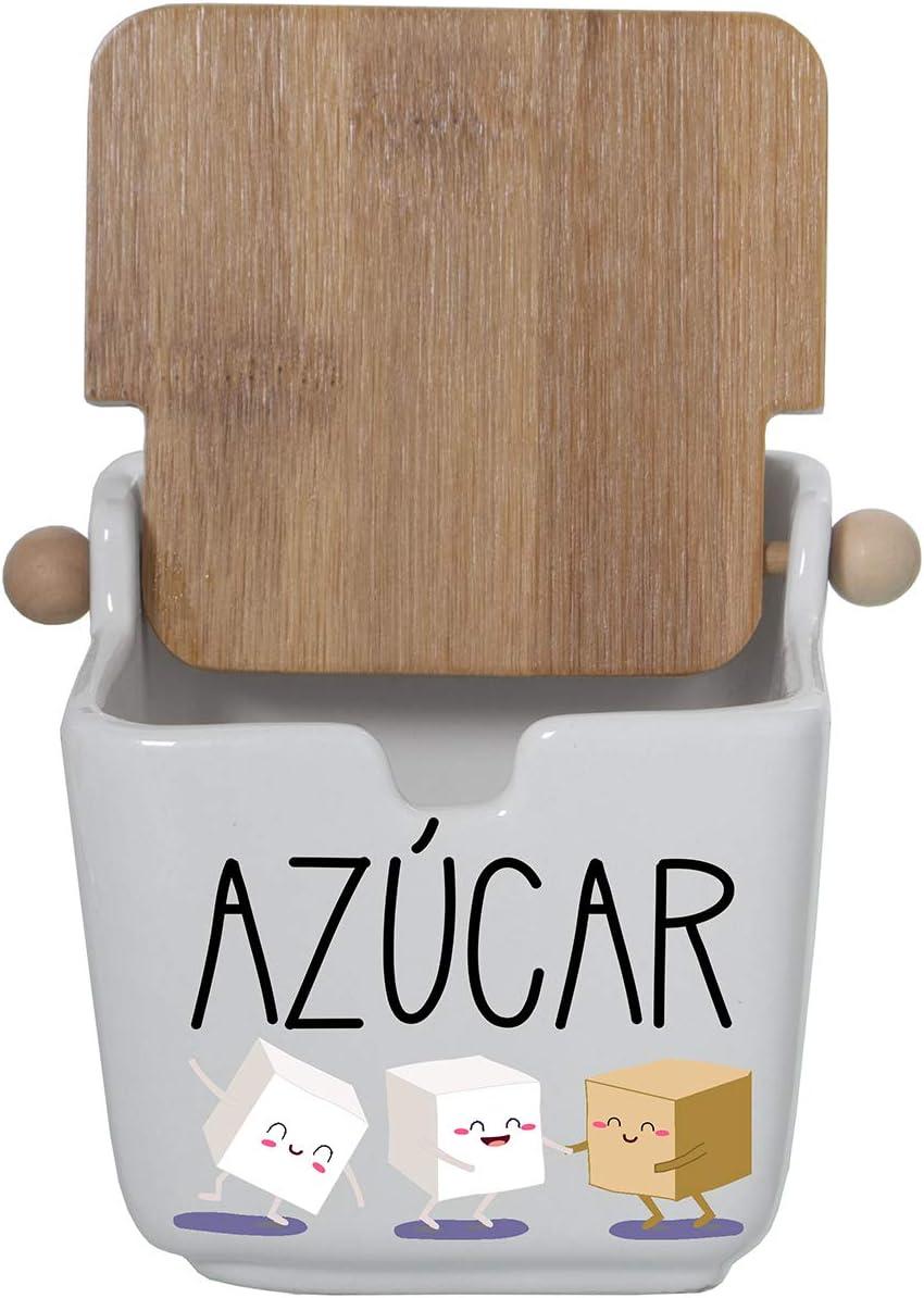DRW Zuckerdose 8,5 x 8,5 x 8,5 cm Mosaik quadratisch aus Keramik und Holzdeckel