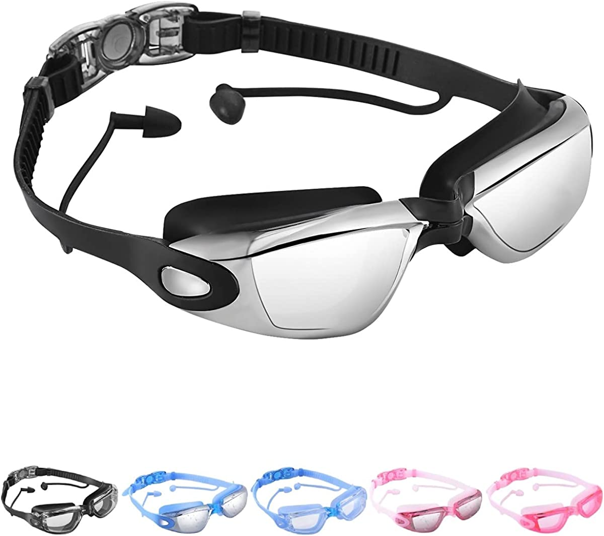 OPKALL Swimming Goggles Connected to Earplugs Swimming Goggles Anti Fog Triathlon with Crystal Clear UV Protection Case for Adult Men Women Youth Teen : Clothing
