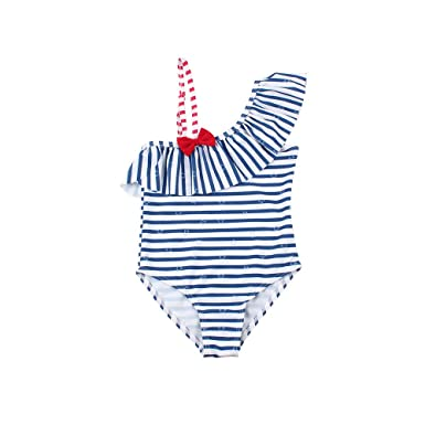 28778ee047 XIAOHAWANG Baby Girl Swimsuit Kids One-Piece Swimwear with Hat Lotus Leaf  Inclined Collar 2