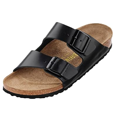 fbe016730 Amazon.com | Birkenstock Unisex Arizona Soft Footbed Suede Sandals, Hunter  Black Leather - 37 N EU / 6-6.5 2A(N) US | Mules & Clogs