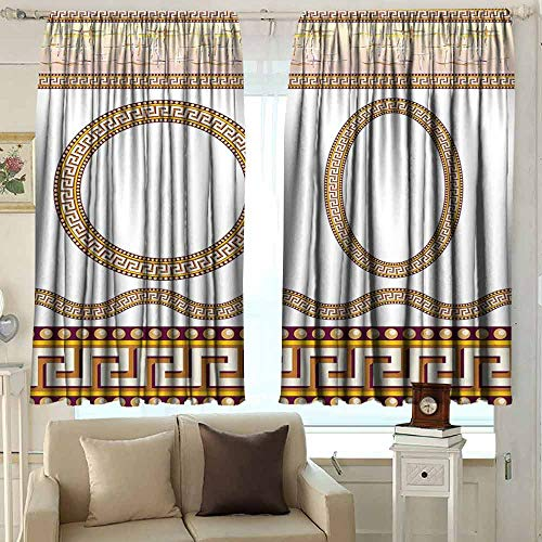 XXANS Curtains for livingroom/Bedroom,Greek Key,Rod Pocket Drapes Thermal Insulated Panels Home décor,W63x72L Inches Marigold Plum White