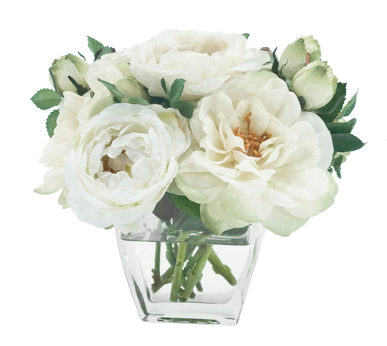 FAB Flowers Cream White Rose Bouquet, Great Bridesmaids or You Have Been a Good Girl Gift!!, 9 Inches Length x 8 Inches High