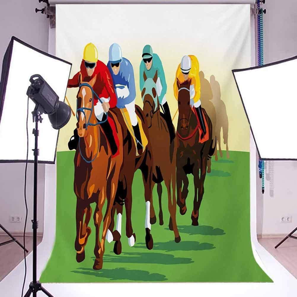Horse 6.5x10 FT Photo Backdrops,Vibrant Colorful Competitive Scene with s Racing Horses Equine Retro Artwork Background for Baby Birthday Party Wedding Vinyl Studio Props Photography Multicolor