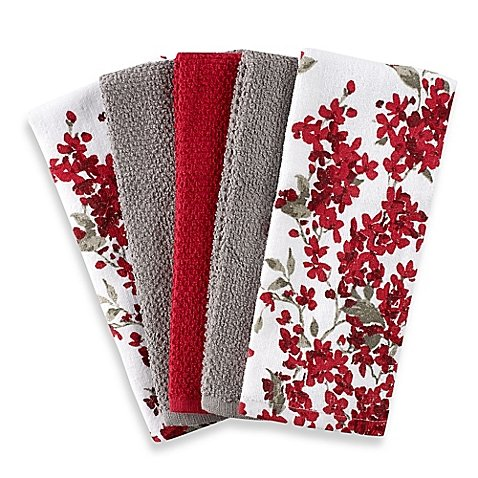 Cherry Blossom 5-Pack Kitchen Towel Set in Red/White | Each Towel Measures 16