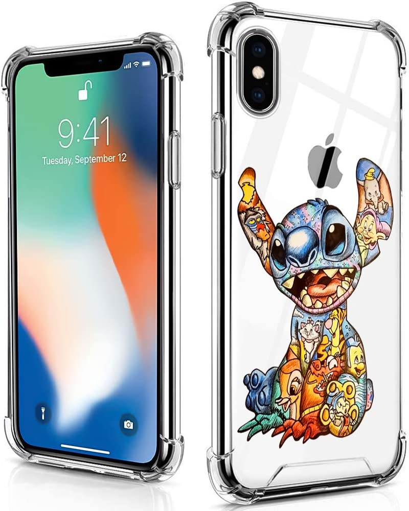 DISNEY COLLECTION Case for iPhone Xs & iPhone X, Colorful Stitch Ultra-Thin Shock-Absorbing Scratch-Resistant [Military Grade Protection] Hard PC + Soft TPU Frame Clear Bumper Protective Cover Case