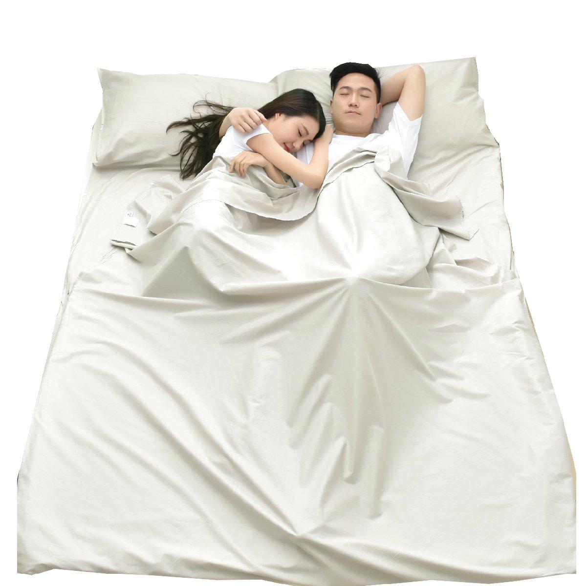 TRIWONDER Sleeping Bag Liner Cotton Travel Hoja de Camping Sleep Sack Cómodo para Viajes Albergues Juveniles Al aire libre Picnic Aviones Trenes