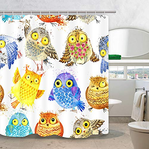 NYMB Watercolor Owl Bird Shower Curtain, Cartoon Animals Family Bath Curtains,Waterproof Fabric Bathroom Decorations, Window Curtains 12PCS Hooks Included, 69X70 Inches