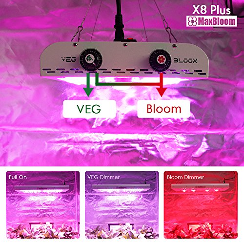 LED grow light full spectrum for indoor plants veg and flower dimmable COB 12-band UV&IR MaxBloom high yield 800W X8 Plus professional led grow light for marijuana over 9 years by MaxBloom (Image #3)