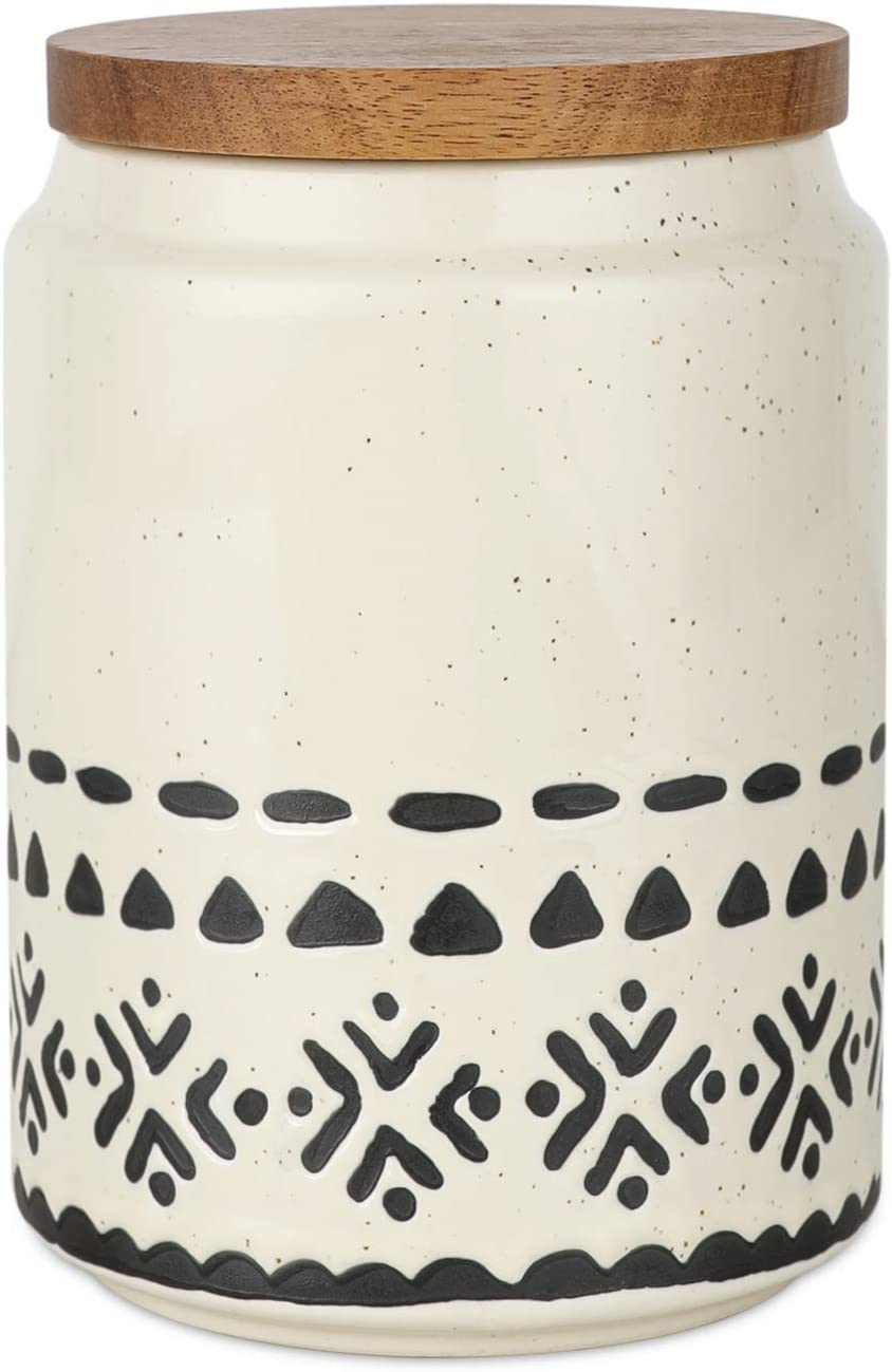Kopmath Ceramic Storage Canisters, 29 FL OZ (850 ml), Super Airtight Wooden Lid, Starry-Sky Bohemian Style, Sturdy for Dishwasher, Kitchen Food Storage Jar for Coffee Bean Sugar Tea Spices Nuts Snack