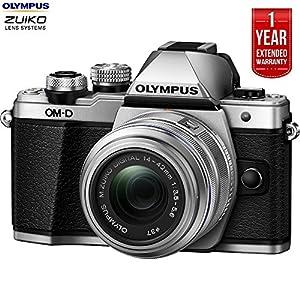 Olympus OM-D E-M10 Mk II Mirrorless Digital Camera w/ 14-42mm IIR Lens Silver (V207051SU000B) + 1 Year Extended Warranty (Certified Refurbish)