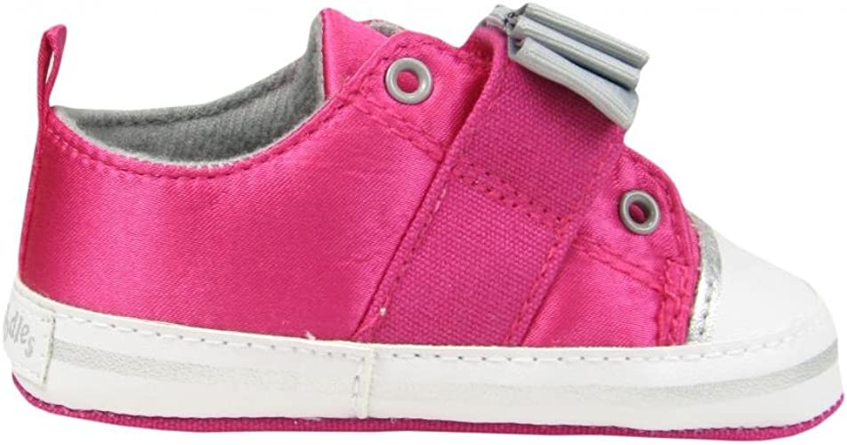Flapdoodles Baby Girl Laceless Soft Sole Sneakers Crib Shoes with Bow