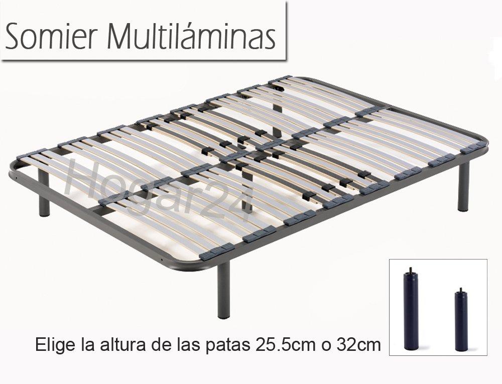 HOGAR24 ES Somier Multiláminas con Reguladores Lumbares + Juego De 5 Patas De 25.5cm, 135x190cm: Amazon.es: Juguetes y juegos