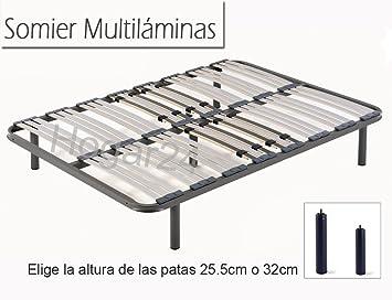 HOGAR24 ES Somier Multiláminas con Reguladores Lumbares + Juego De 5 Patas De 32cm, 135x190cm: Amazon.es: Juguetes y juegos