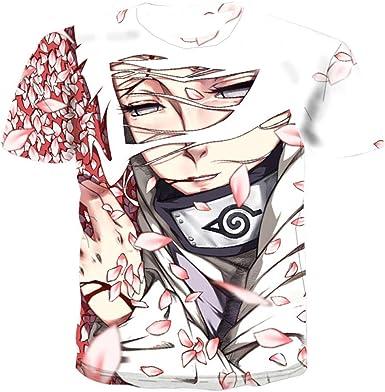 TSHIMEN Camisetas Hombre Naruto Marca 2019 Camiseta de los Hombres de la Historieta del Animado 3D de la Camiseta de los Hombres Camiseta Hip-Hop de los Hombres Divertidos Camisa Blanca: Amazon.es: Ropa