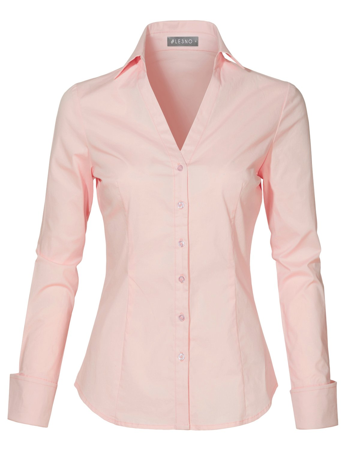 9924bf11cbb7 Galleon - LE3NO Womens Long Sleeve Button Down V Neck Shirt With Stretch