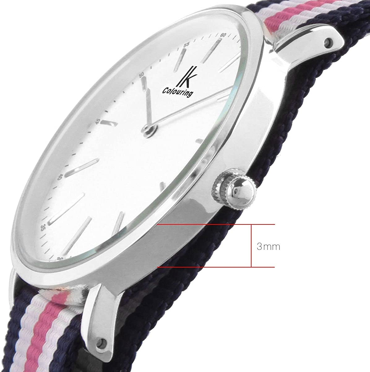 Alienwork IK Montre Femme Homme Bracelet Tissu NATO Nylon Quartz Ultra-Mince Boîtier Argent Φ 36mm/Bracelet Bleu-rose