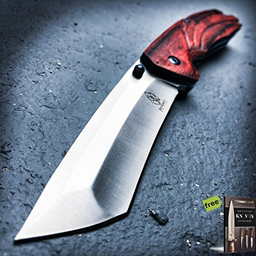 "9"" Spring Assisted Open Folding Pocket Knife Katana Tanto Japanese Wood New Carbon Steel Razor Sharp Blade Knife + Free eBook by SURVIVAL STEEL"