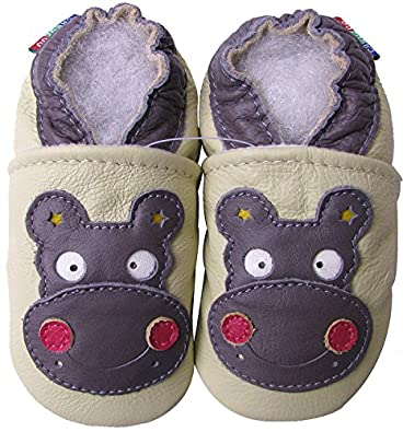 Carozoo Hippo Cream Baby Boy Soft Sole Leather Shoes