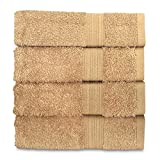 Goza Towels Cotton Hand Towels, 16 by 28 inch (4 Pack) (Camel)