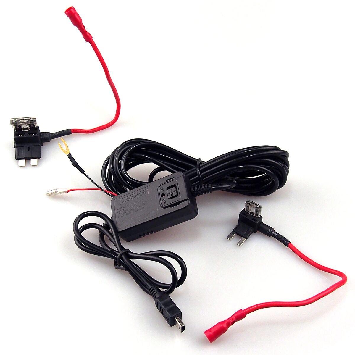 alloggiamento di colore nero Kit di alimentazione per dash-cam il GPS o il sistema DVR da 12//24 V a 5 V//2 A per ricaricare la dash-cam con cavo mini USB