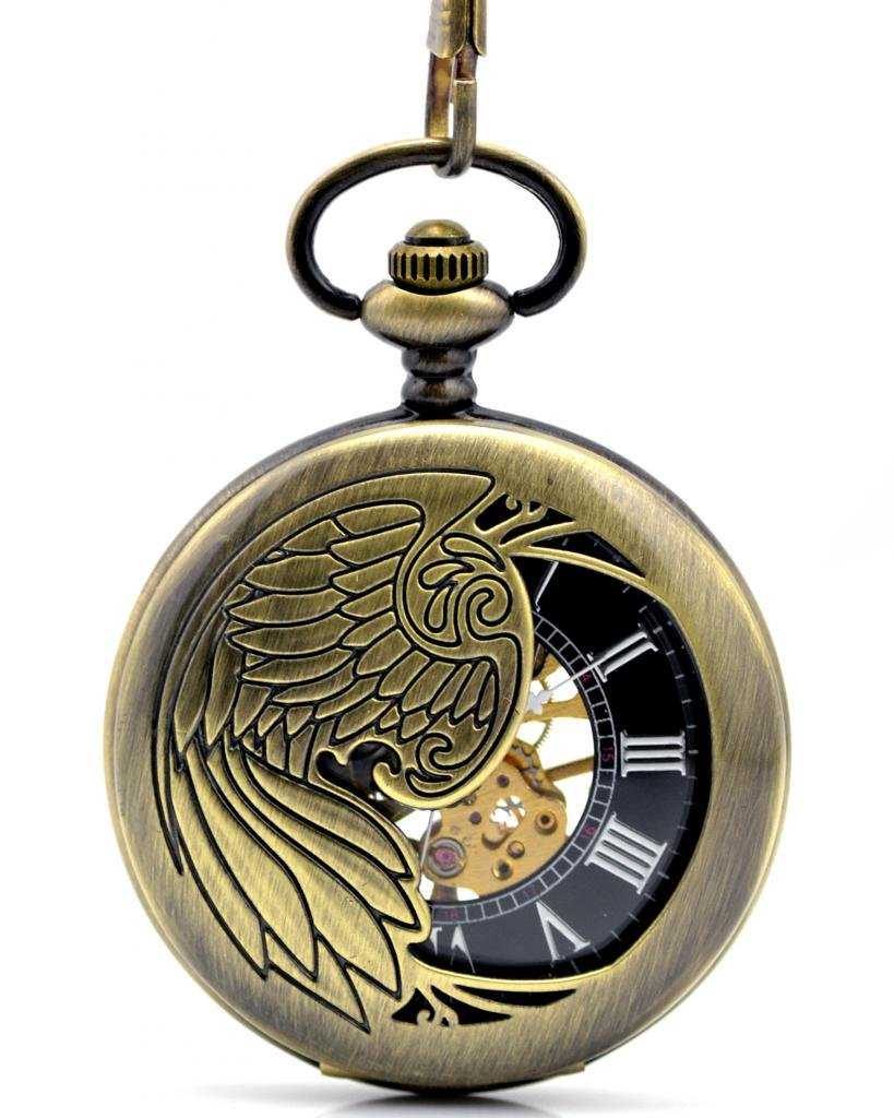 Infinite U Hollow Skeleton Eagle/Angel/Phoenix Pendant Necklace Steel Mechanical Pocket Watch -Bronze