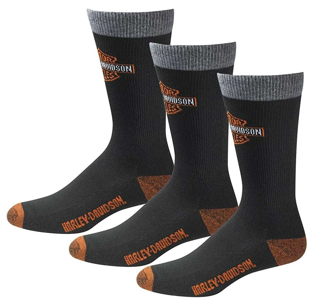 Harley-Davidson Mens UltraDri 3 Pack Poly Blend Riding Socks D99202870-001