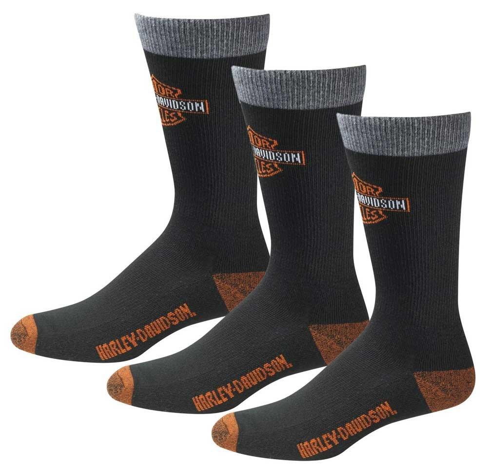 Harley-Davidson Men's UltraDri 3 Pack Poly Blend Riding Socks D99202870-001