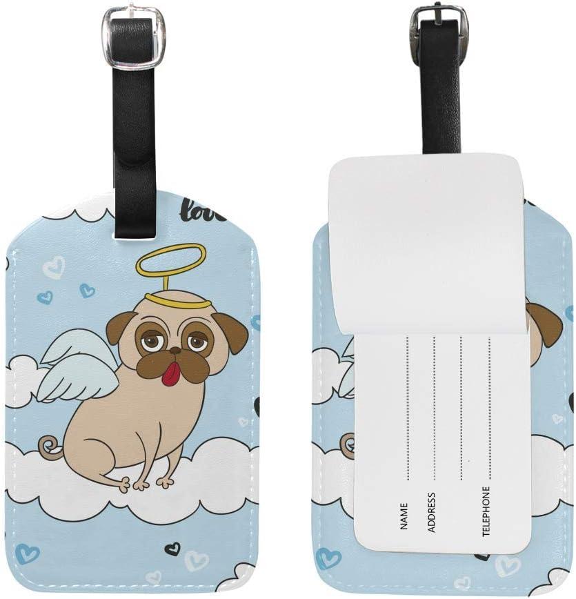Etiquetas de Equipaje Angell Pug Dog Travel Equipaje Etiqueta de Maletas de Cuero de PU para Mujeres Hombres