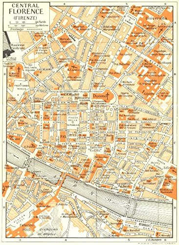 Central Florence Town City Plan Firenze Italy 1953 Old Map