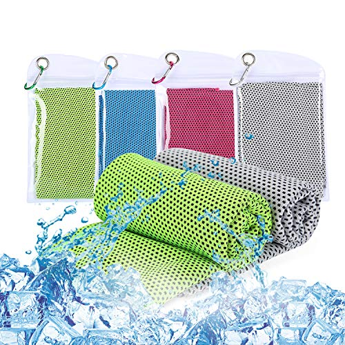 Ulikey Koelende handdoek, 4 stuks, 30 x 100 cm, sporthanddoek ultralicht koeldoek, sneldrogend reishanddoek, microvezel…