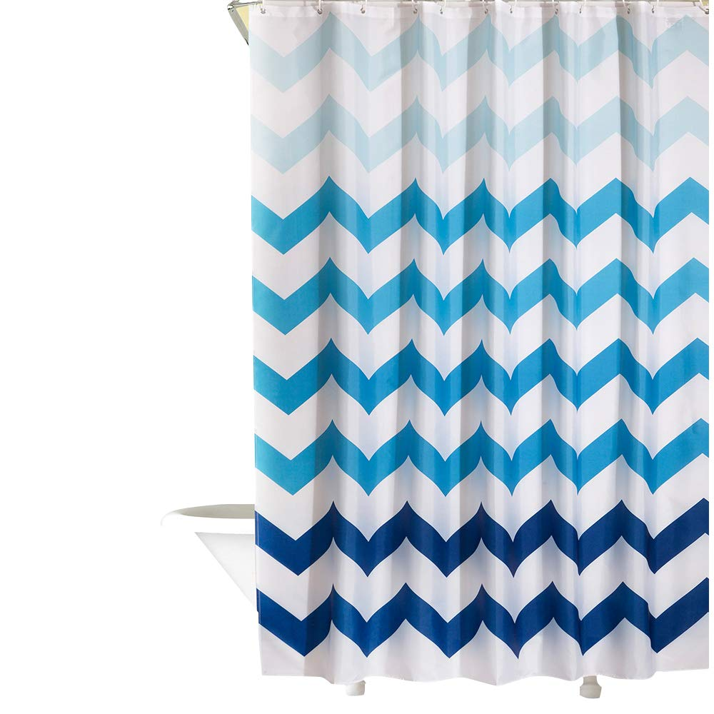 Dolii Spa Shower Curtain for Bathroom 100% Polyester Stain Resistant Printed with Plastic Hook(Prismatic Wave,72''x72'')