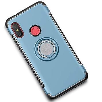 LAGUI Funda Adecuado para Xiaomi Mi A2 Lite, Doble Capa Carcasa con Anilla Posterior, oporte de Montaje Magnético del Coche Cáscara Especial, Azul ...