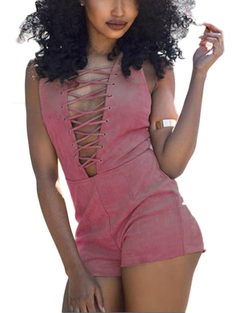 Dreamparis Women's Sexy Sleeveless V Neck Lace Up Rompers Playsuits Clubwear Pink S