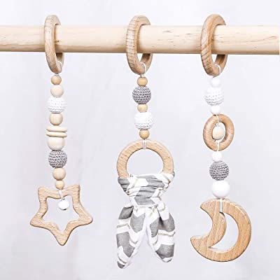 Biter teether 3pc Baby Organic Wooden Teething Toy Wooden Moon and Star Shape Teether Stroller Hanging Toys Chewable Crochet Beads Baby Nursing Accessories Infant Shower Gift: Toys & Games