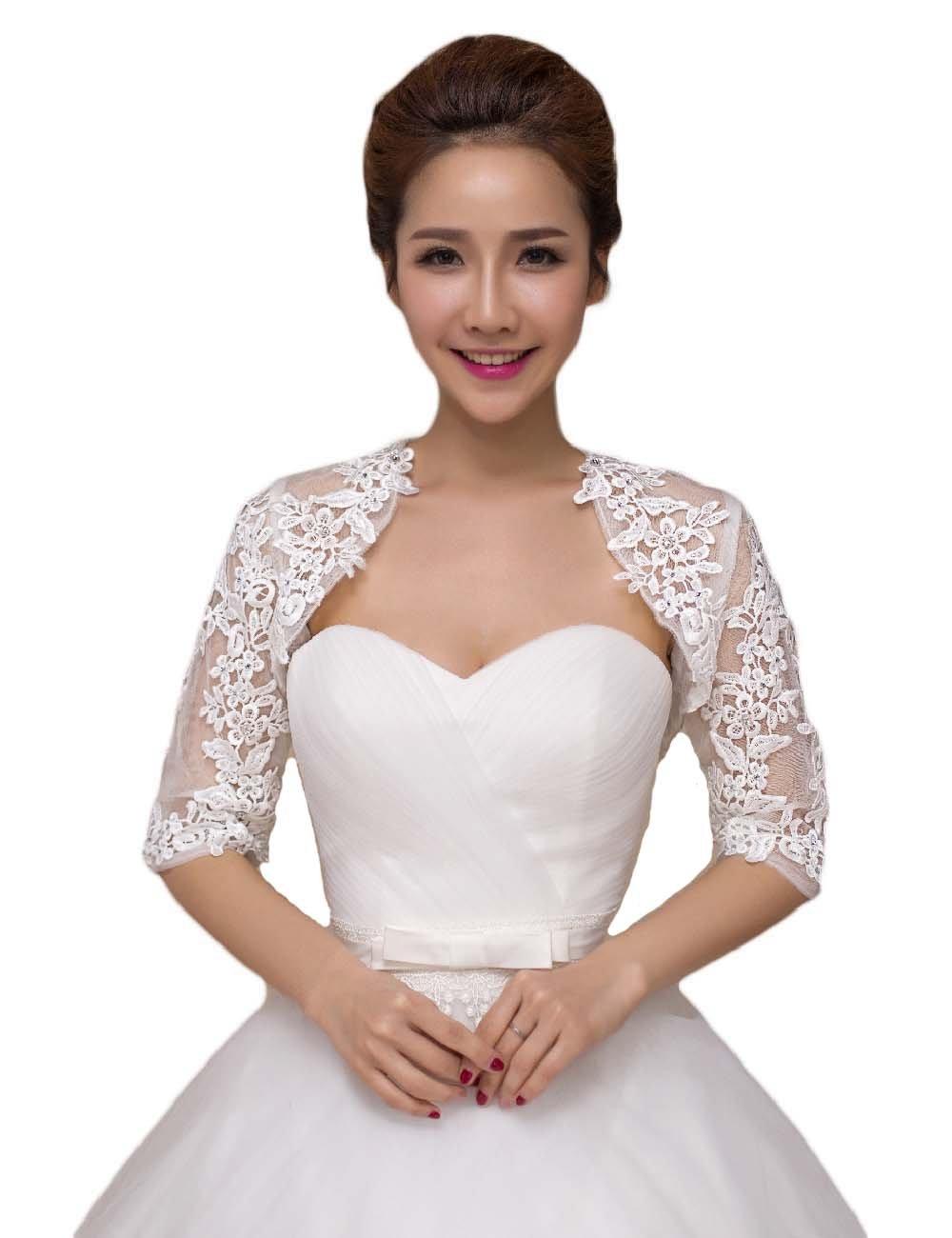 2016 Women's Lace Half Sleeves Wedding Shrug Bridal Bolero Jackets Shawl Ivory