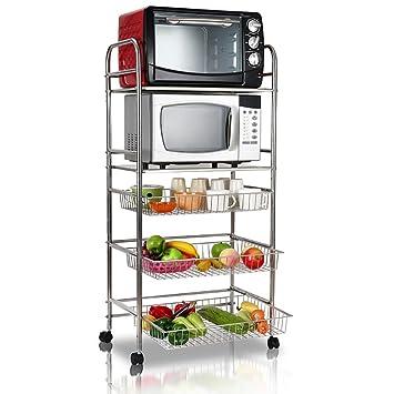 Amazon.de: Regale Edelstahl Mikrowellenregal, Abnehmbare Küche Herd ...