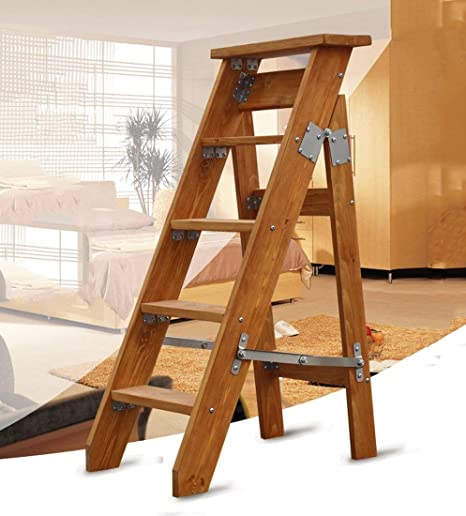 HIGHKAS Escalera Plegable Escalera Unilateral Taburete Escalera en Espiga Taburete de Escalera de Madera Maciza Recta Simple Loft Ascender (Color: A): Amazon.es: Hogar