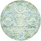 Unique Loom Baracoa Collection Bright Tones Vintage Traditional Light Blue Round Rug (5′ x 5′)