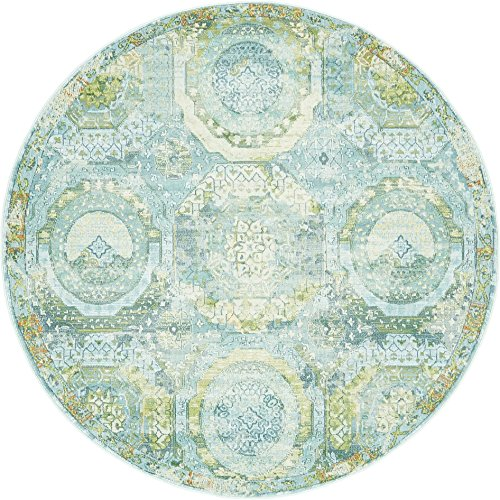 Sea Green Rug - Unique Loom Baracoa Collection Bright Tones Vintage Traditional Light Blue Round Rug (5' 5 x 5' 5)