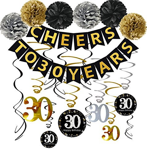 Famoby 30th Birthday Party Decorations Kit - Cheers to 30 Years Banner, Poms,Sparkling Celebration 30 Hanging Swirls for 30 Years Old Party Supplies 30th Anniversary Decorations