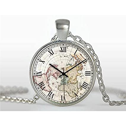 Reloj collar, Vintage collar con colgante vintage reloj Art Colgante, colgante Luna joyería bañado