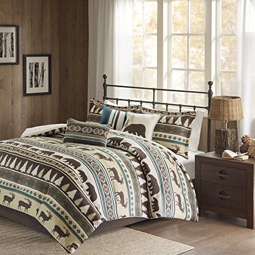 7 Piece Teal Blue White Brown Deer Pattern Comforter Queen Set, Hunting Bedding Bear Themed Cabin Lodge Elk Southwest Warm Cozy Overfilled Animal Print Montana Pine Trees Butte, Polyester by D&A