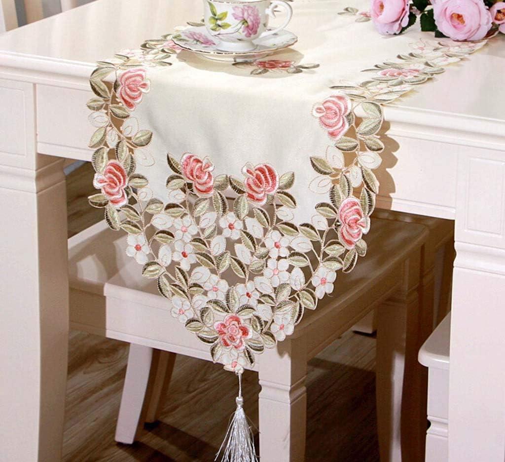 Hqzq Camino de Mesa Vintage Pink Rose Pattern Tapete de Mesa con Borlas Cubierta de Tabla Impermeable para Mesa de Comedor