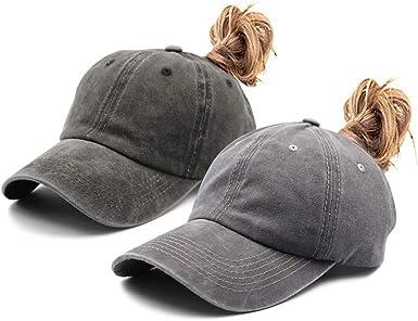 2 Pack Women Ponytail Hats Adjustable Mesh Ponytail Baseball Cap Hat