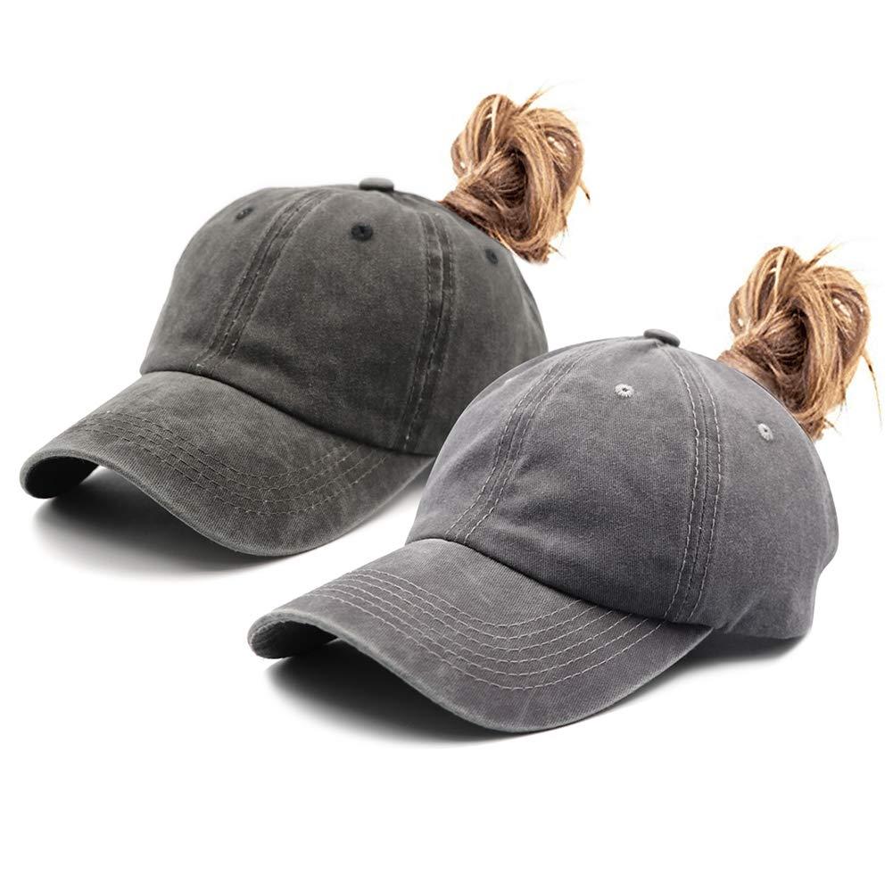 2 Pack Ponytail Vintage Classic Cotton Dad Hat Adjustable Plain Cap Low Profile UnconstructedMessy High Bun Hat Ponycaps Baseball Cap